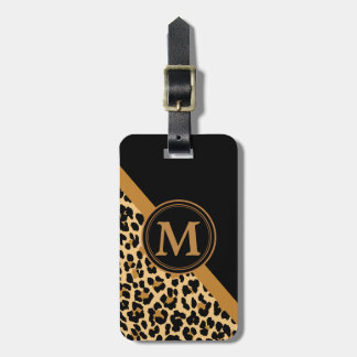 Stylish Leopard Print Custom Monogram Luggage Tag
