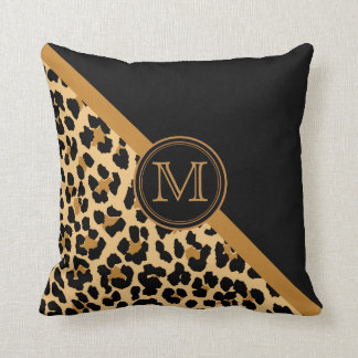 Stylish Leopard Print Custom Monogram Throw Pillow
