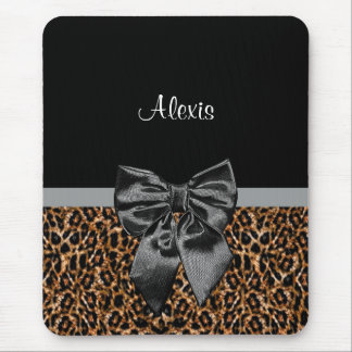 Stylish Leopard Print Elegant Black Bow and Name Mouse Pad