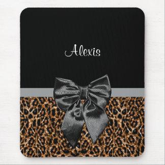 Stylish Leopard Print Elegant Black Bow and Name Mouse Pad