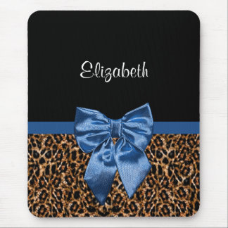 Stylish Leopard Print Elegant Blue Bow and Name Mouse Pad