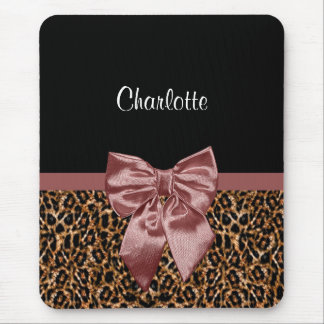 Stylish Leopard Print Elegant Brown Bow and Name Mouse Pad