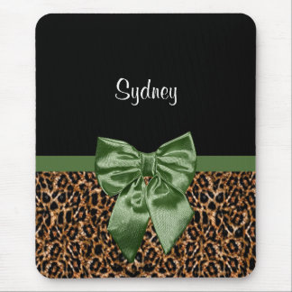 Stylish Leopard Print Elegant Green Bow and Name Mouse Pad