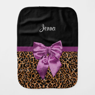 Stylish Leopard Print Elegant Purple Bow and Name Baby Burp Cloths