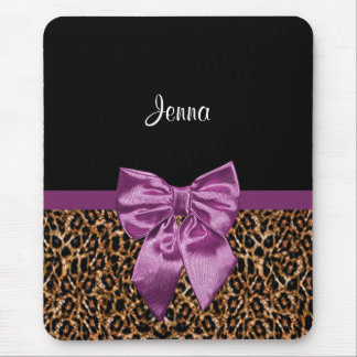 Stylish Leopard Print Elegant Purple Bow and Name Mouse Pad