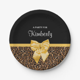 Stylish Leopard Print Elegant Yellow Bow and Name 7 Inch Paper Plate