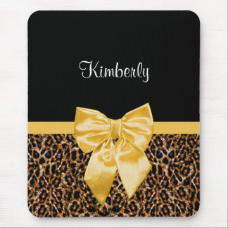Stylish Leopard Print Elegant Yellow Bow and Name Mouse Pad