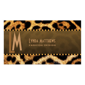 Stylish Leopard Print Monogram Business Cards