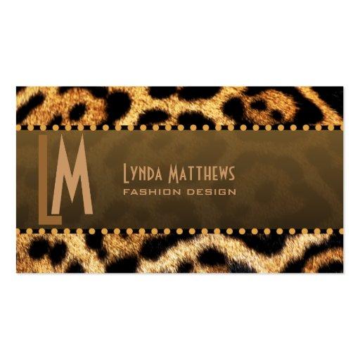 Stylish Leopard Print Monogram Business Cards