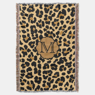 Stylish Leopard Print Monogram Throw Blanket