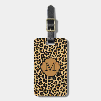 Stylish Leopard Print Monogram Travel Bag Tags