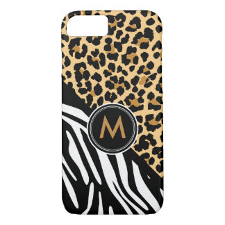 Stylish Leopard Zebra Print Monogram iPhone Case