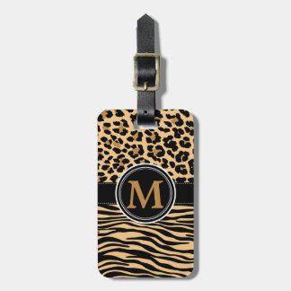 Stylish Leopard Zebra Print Monogram Luggage Tag