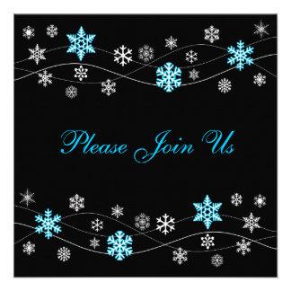 Stylish Light Blue Snowflakes Invitation Template