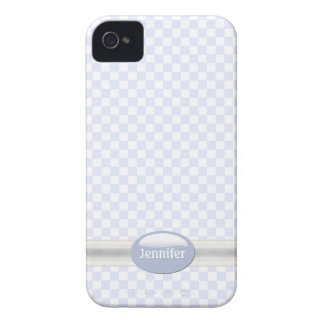 Stylish Light Blue & White Checkered iPhone 4 Case