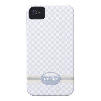Stylish Light Blue & White Checkered iPhone 4 Case