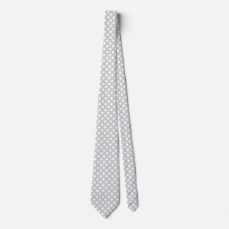 Stylish Light Gray and White Polka Dot Neck Tie