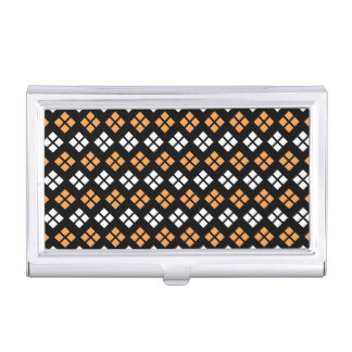 Stylish Light Orange & White Argyle Pattern Business Card Holder