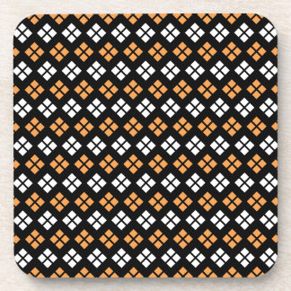 Stylish Light Orange & White Argyle Pattern Coaster