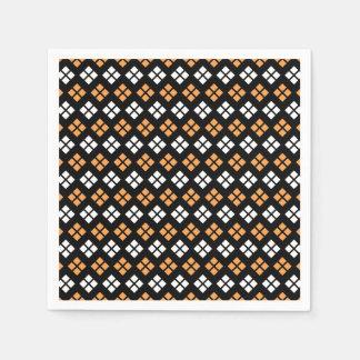 Stylish Light Orange & White Argyle Pattern Paper Napkin