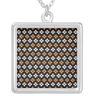 Stylish Light Orange & White Argyle Pattern Silver Plated Necklace