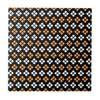Stylish Light Orange & White Argyle Pattern Small Square Tile