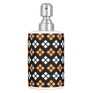 Stylish Light Orange & White Argyle Pattern Soap Dispenser And Toothbrush Holder