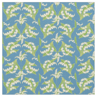 Stylish Lilies-of-the-Valley on Blue Floral Fabric