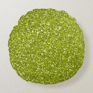 Stylish Lime Green Glitter Round Cushion