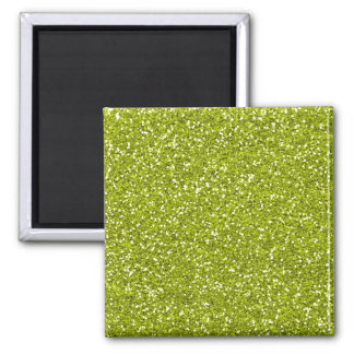 Stylish Lime Green Glitter Square Magnet