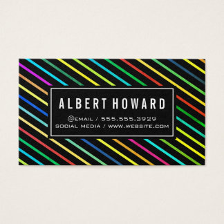 Stylish Lines Pattern / colorful Business Card