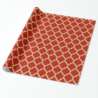 Stylish & Luxurious Red Quatrefoil lattice pattern Wrapping Paper