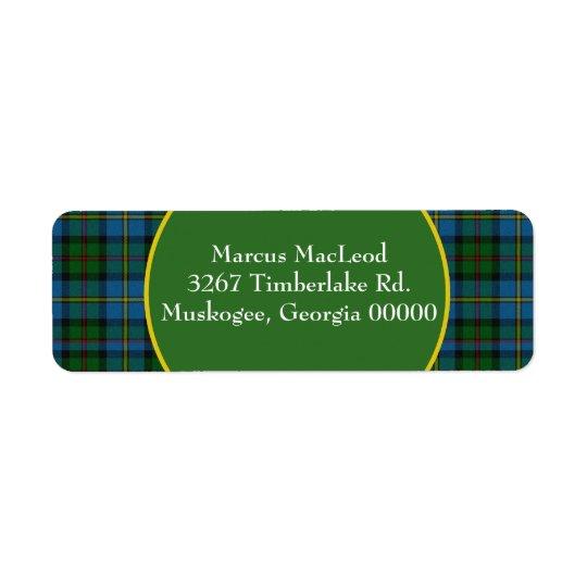 Stylish MacLeod Tartan Plaid Return Address Label