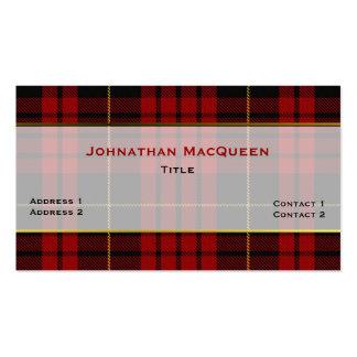 Stylish MacQueen Clan Plaid Custom Business Card