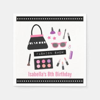 Stylish Makeup Fashion Show Birthday Party Napkins Disposable Napkin