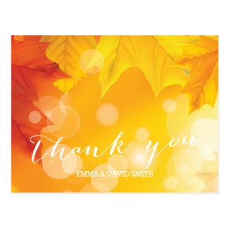 Stylish Maple Leaves Autumn Wedding Thank You Postcard