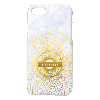 Stylish Marble and Gold Circular Pattern iPhone 8/7 Case