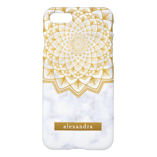 Stylish Marble and Gold Mandala Lace Pattern iPhone 8/7 Case