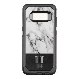 Stylish Marble and Leather OtterBox Commuter Samsung Galaxy S8 Case