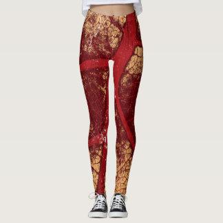 Stylish Maroon Leaf Leggings