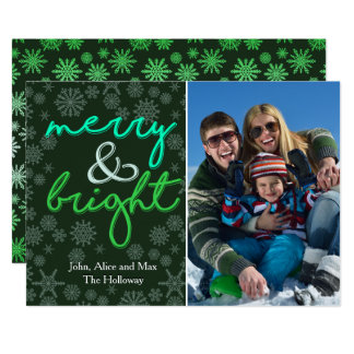 Stylish Merry and Bright Colorful Christmas Card 13 Cm X 18 Cm Invitation Card