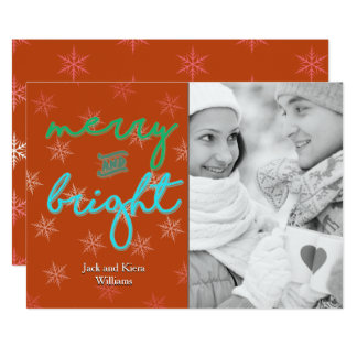 Stylish Merry and Bright One Photo Christmas Card 13 Cm X 18 Cm Invitation Card
