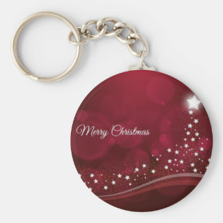 Stylish Merry Christmas greeting with xmas tree Keychain