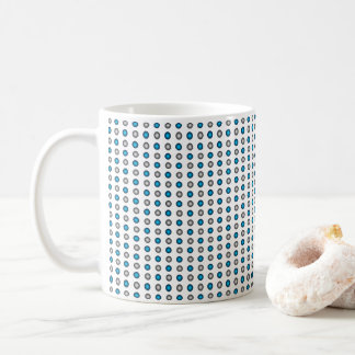 Stylish Metallic Blue and Silver Polka Dot Pattern Coffee Mug