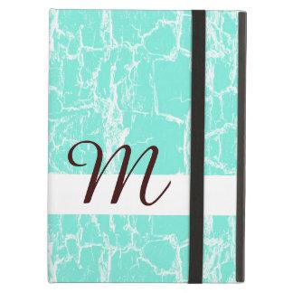 Stylish Mint Aqua Grunge With Monogram Initial iPad Air Case