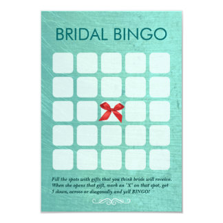 Stylish Mint Green 5x5 Bridal Bingo Cards 9 Cm X 13 Cm Invitation Card