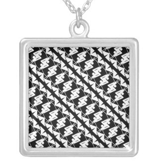 Stylish Mirrored Geometric & Abstract Pattern Silver Plated Necklace