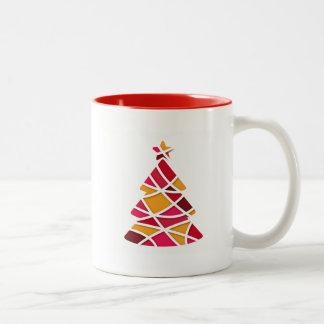 Stylish modern art Christmas tree Mugs