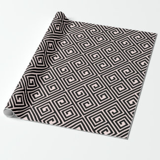 Stylish Modern Black Blush Greek Key Chic Wedding Wrapping Paper