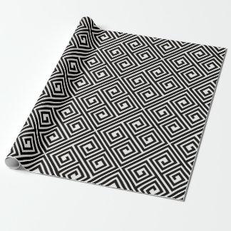 Stylish Modern Black Ivory Greek Key Chic Wedding Wrapping Paper